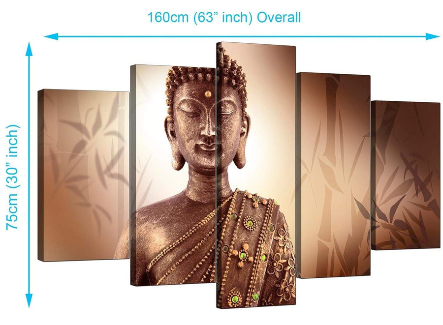 5 Panel Set of Living-Room Brown Canvas Pictures