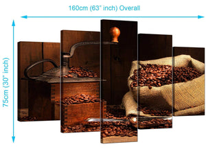 Five Part Set of Living-Room Brown Canvas Pictures