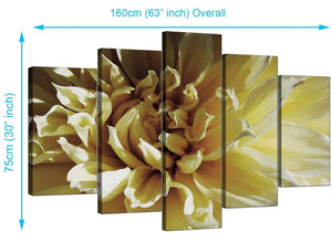 5 Panel Set of Living-Room Cream Canvas Picture