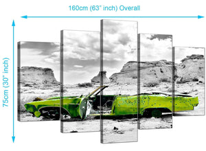 5 Piece Set of Extra-Large Green Canvas Prints
