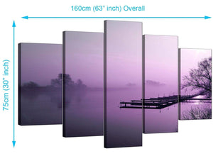 Five Panel Set of Cheap Purple Canvas Prints