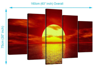 5 Panel Set of Modern Red Canvas Wall Art