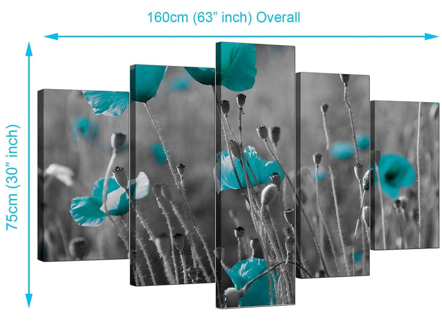 5 Panel Set of Living-Room Teal Canvas Wall Art