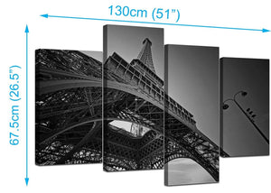 4 Part Set of Living-Room Black White Canvas Picture