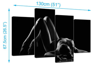 Four Part Set of Extra-Large Black White Canvas Picture
