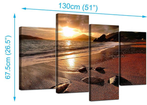 Four Part Set of Modern Brown Canvas Prints