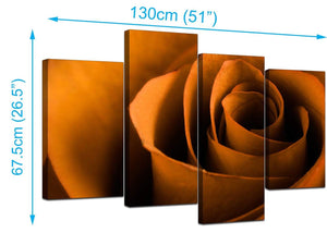 Set Of 4 Living-Room Orange Canvas Picture