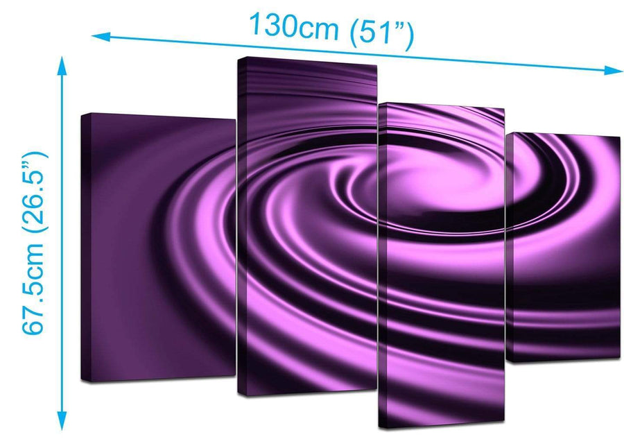 4 Part Set of Modern Purple Canvas Pictures