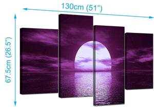 4 Panel Set of Modern Purple Canvas Pictures