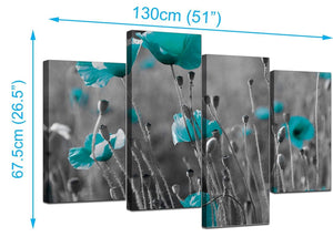 Four Panel Set of Living-Room Teal Canvas Pictures