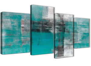 Extra Large Teal Black White Painting Abstract Living Room Canvas Pictures Decor - 4399 - 130cm Set of Prints