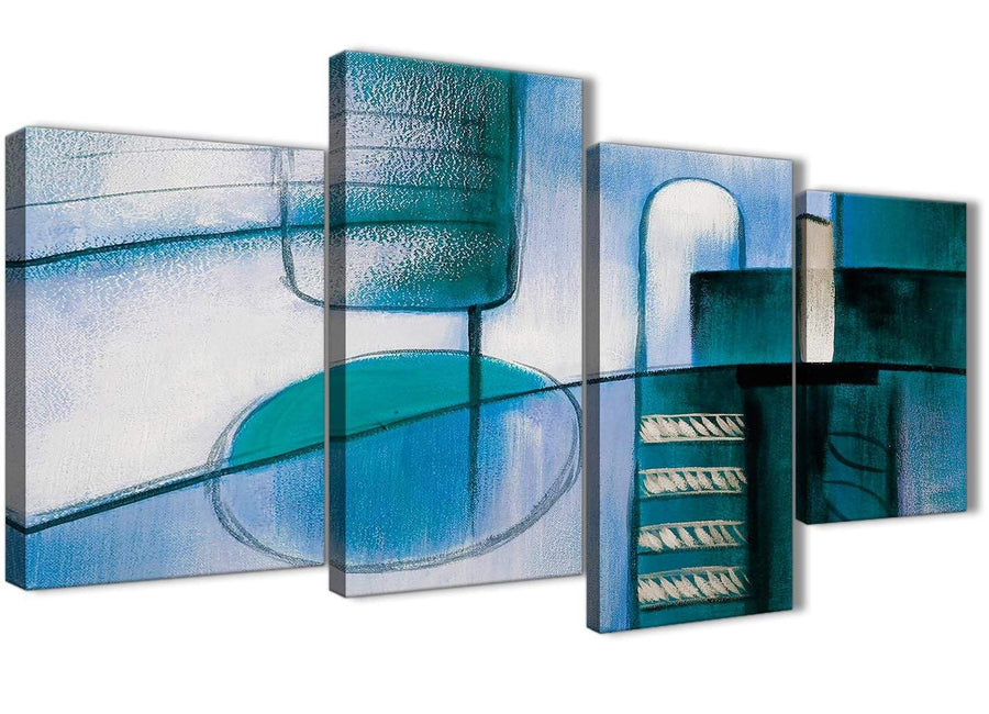 Extra Large Teal Cream Painting Abstract Bedroom Canvas Pictures Decor - 4417 - 130cm Set of Prints
