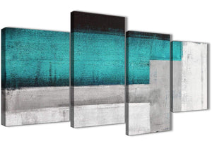 Extra Large Teal Turquoise Grey Painting Abstract Bedroom Canvas Pictures Decor - 4429 - 130cm Set of Prints