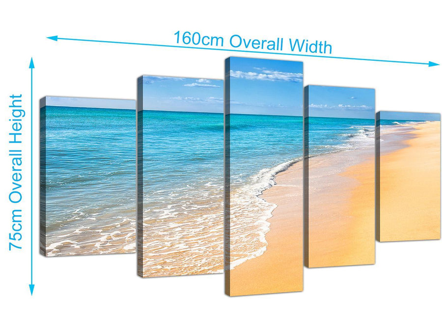 extra large tropical beach canvas wall art blue 5199
