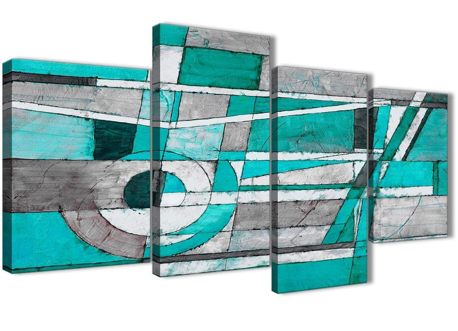 Extra Large Turquoise Grey Painting Abstract Bedroom Canvas Wall Art Decor - 4403 - 130cm Set of Prints
