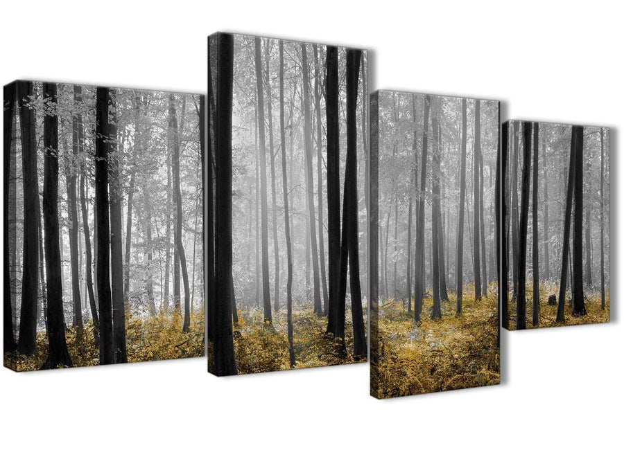 Extra Large Yellow and Grey Forest Woodland Trees Bedroom Canvas Pictures Decor - 4384 - 130cm Set of Prints