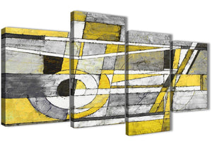 Extra Large Yellow Grey Painting Abstract Bedroom Canvas Wall Art Decor - 4400 - 130cm Set of Prints