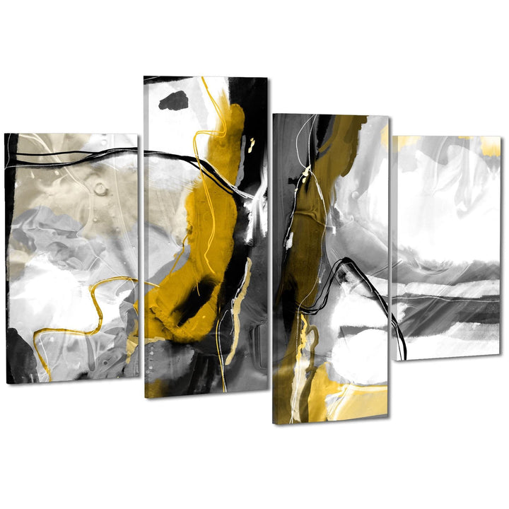 Abstract Mustard Grey Illustration Framed Art Pictures