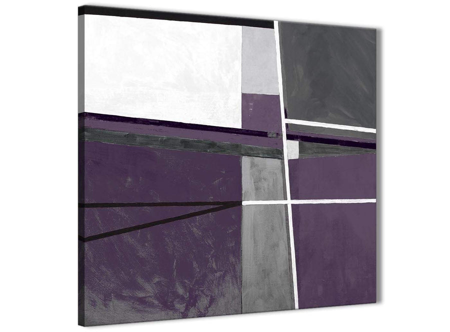 Framed Aubergine Grey Painting Kitchen Canvas Pictures Decorations - Abstract 1s392m - 64cm Square Print
