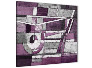 Framed Aubergine Grey White Painting Kitchen Canvas Wall Art Decorations - Abstract 1s406m - 64cm Square Print