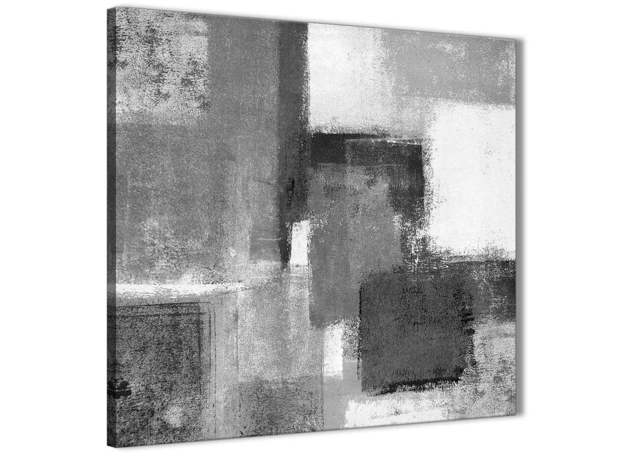 Framed Black White Grey Hallway Canvas Pictures Decor - Abstract 1s368m - 64cm Square Print