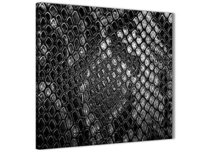 Framed Black White Snakeskin Animal Print Stairway Canvas Wall Art Decorations - Abstract 1s510m - 64cm Square Print