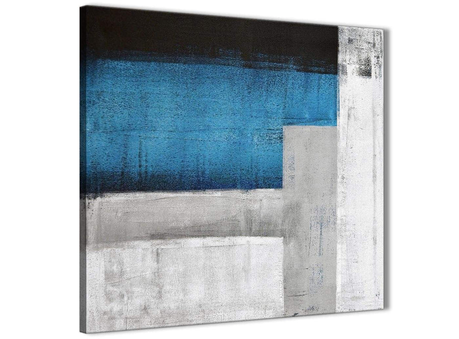 Framed Blue Grey Painting Stairway Canvas Wall Art Decorations - Abstract 1s423m - 64cm Square Print