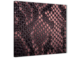 Framed Blush Pink Snakeskin Animal Print Kitchen Canvas Pictures Decorations - Abstract 1s473m - 64cm Square Print