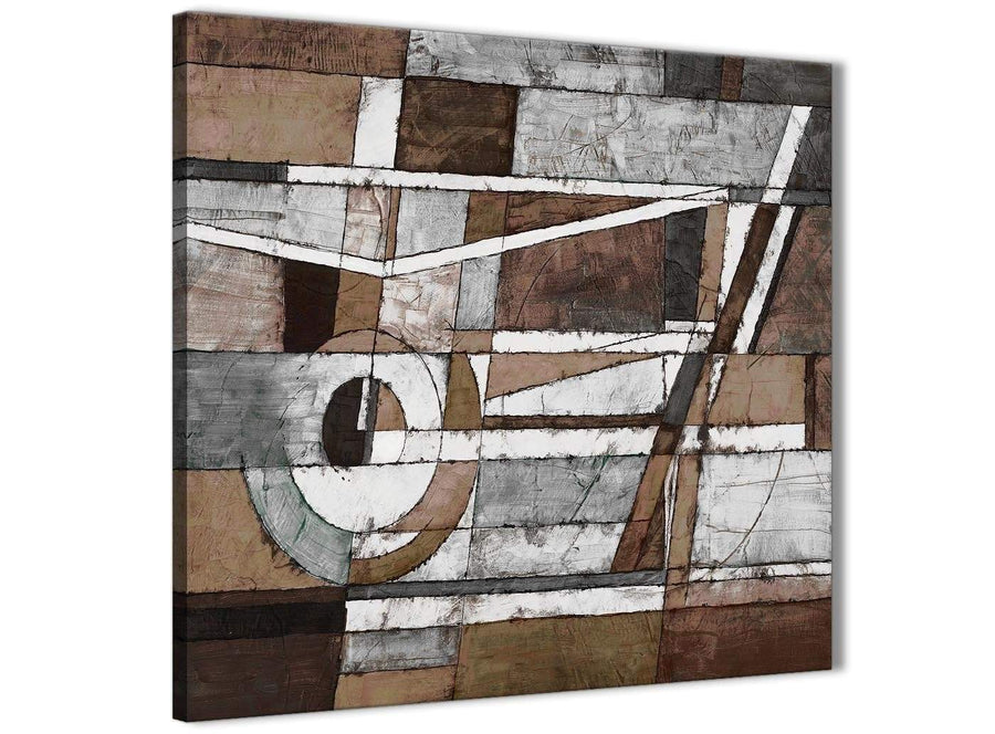 Framed Brown Beige White Painting Living Room Canvas Pictures Decor - Abstract 1s407m - 64cm Square Print