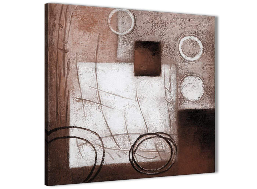 Framed Brown White Painting Hallway Canvas Pictures Decorations - Abstract 1s422m - 64cm Square Print