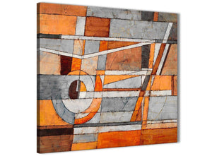 Framed Burnt Orange Grey Painting Kitchen Canvas Pictures Decorations - Abstract 1s405m - 64cm Square Print