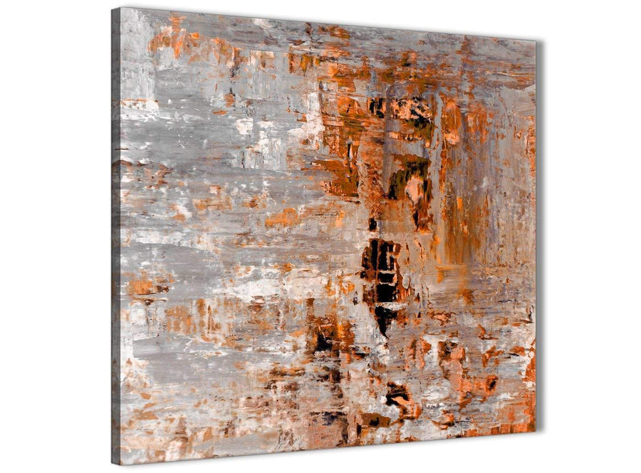 Framed Burnt Orange Grey Painting Kitchen Canvas Wall Art Decorations - Abstract 1s415m - 64cm Square Print