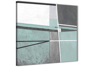 Framed Duck Egg Blue Grey Painting Hallway Canvas Pictures Decorations - Abstract 1s396m - 64cm Square Print