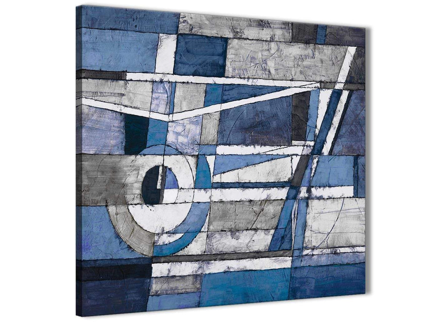 Framed Indigo Blue White Painting Living Room Canvas Wall Art Decorations - Abstract 1s404m - 64cm Square Print