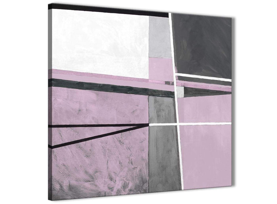 Framed Lilac Grey Painting Stairway Canvas Wall Art Decorations - Abstract 1s395m - 64cm Square Print