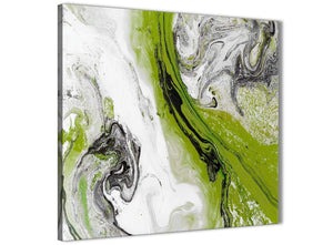 Framed Lime Green and Grey Swirl Living Room Canvas Wall Art Decorations - Abstract 1s464m - 64cm Square Print