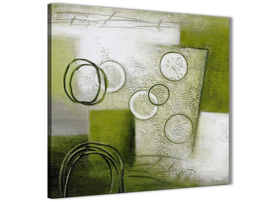 Framed Lime Green Painting Kitchen Canvas Wall Art Decorations - Abstract 1s434m - 64cm Square Print