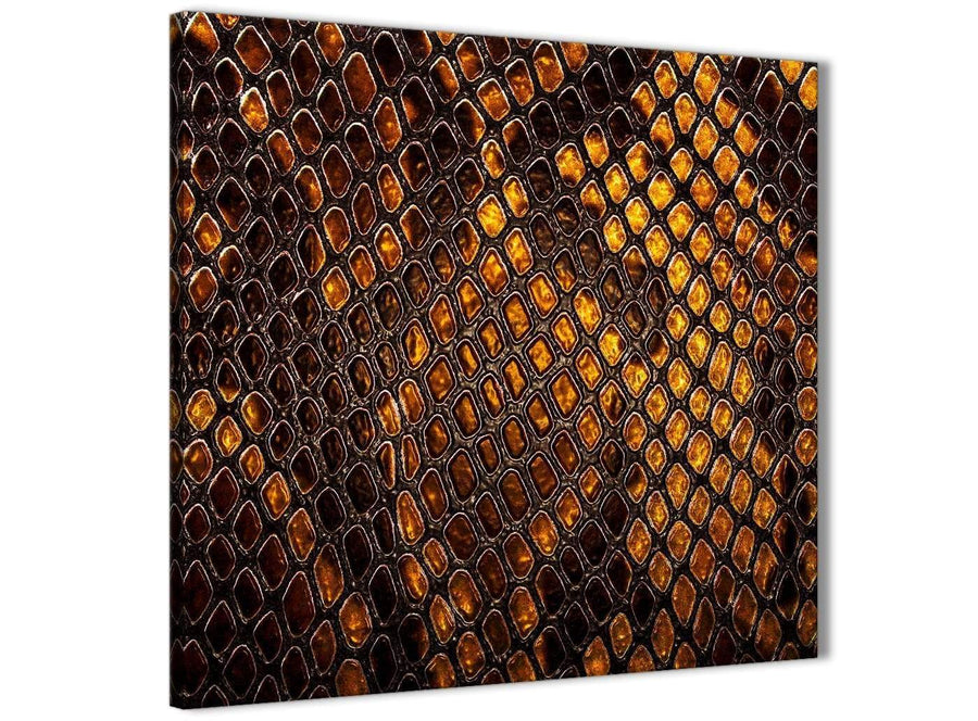 Framed Mustard Gold Snakeskin Animal Print Stairway Canvas Pictures Decorations - Abstract 1s474m - 64cm Square Print