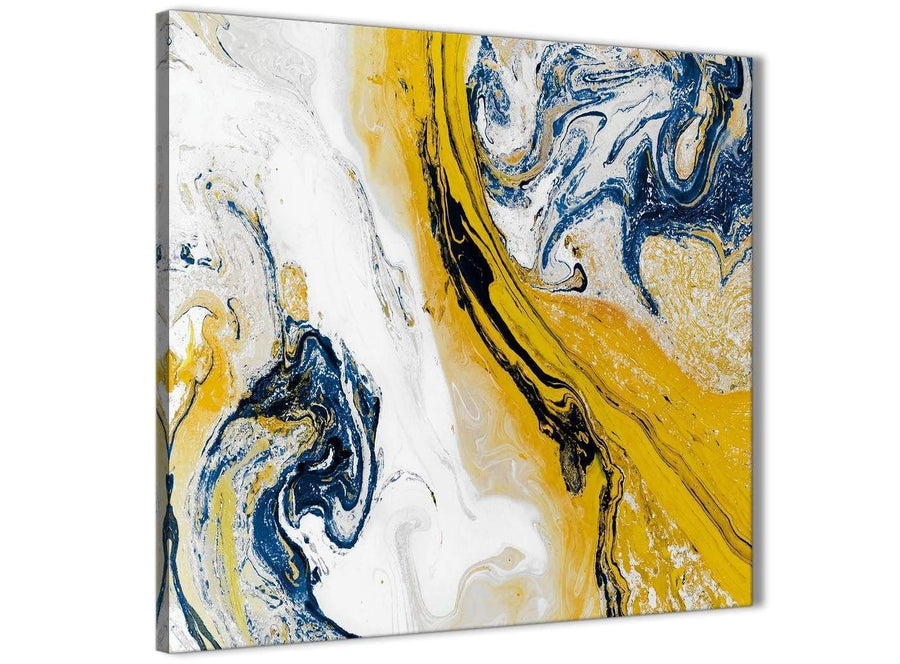Framed Mustard Yellow and Blue Swirl Kitchen Canvas Pictures Decorations - Abstract 1s469m - 64cm Square Print