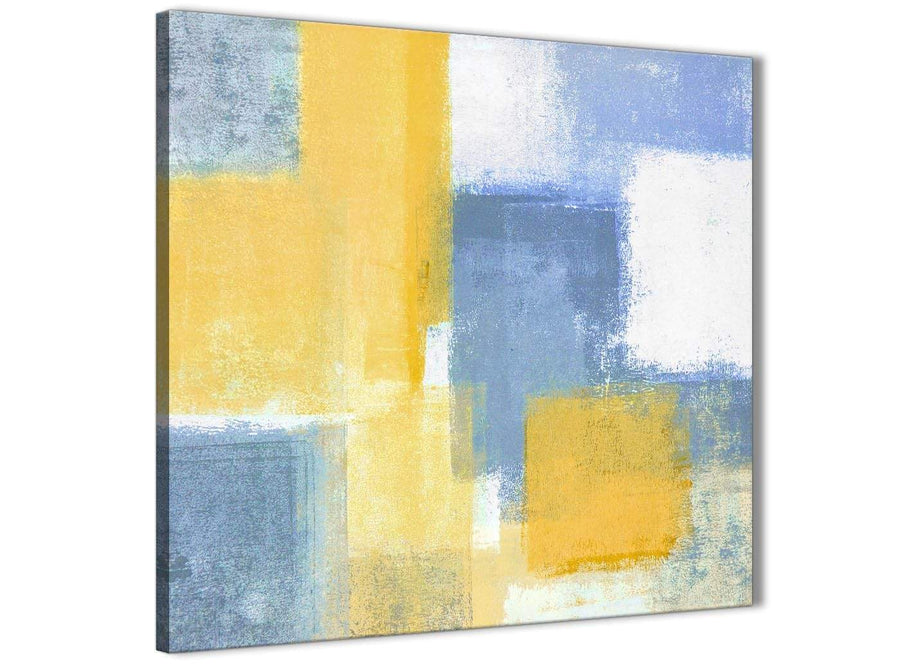 Framed Mustard Yellow Blue Stairway Canvas Wall Art Decor - Abstract 1s371m - 64cm Square Print