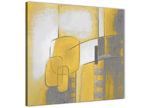 Framed Mustard Yellow Grey Painting Hallway Canvas Pictures Decorations - Abstract 1s419m - 64cm Square Print