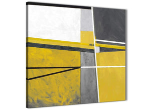 Framed Mustard Yellow Grey Painting Hallway Canvas Pictures Decor - Abstract 1s388m - 64cm Square Print