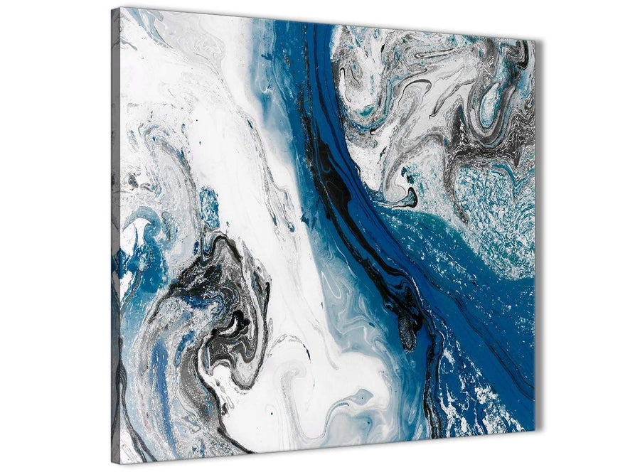 Framed Blue and Grey Swirl Hallway Canvas Wall Art Decorations - Abstract 1s465m - 64cm Square Print