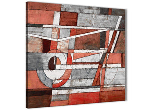 Framed Red Grey Painting Hallway Canvas Wall Art Decor - Abstract 1s401m - 64cm Square Print
