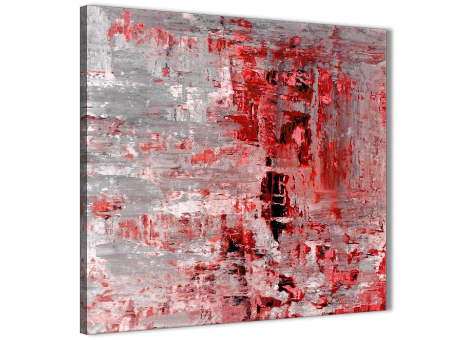 Framed Red Grey Painting Living Room Canvas Wall Art Decor - Abstract 1s414m - 64cm Square Print