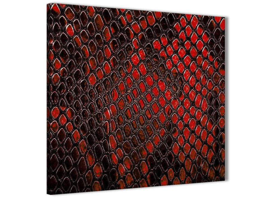 Framed Red Snakeskin Animal Print Kitchen Canvas Wall Art Decorations - Abstract 1s476m - 64cm Square Print
