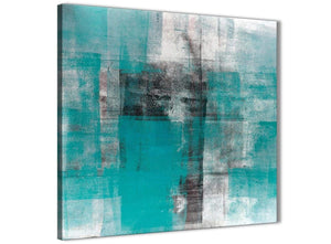 Framed Teal Black White Painting Stairway Canvas Pictures Decorations - Abstract 1s399m - 64cm Square Print