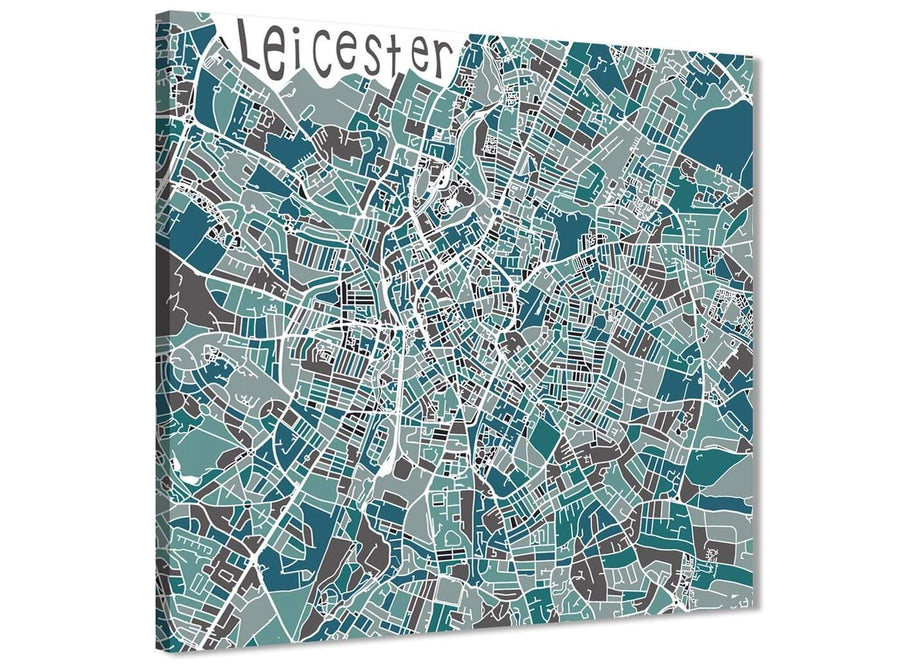 Framed Teal Blue Street Map of Leicester - Kitchen Canvas Pictures Decorations - 1s453m - 64cm Square Print