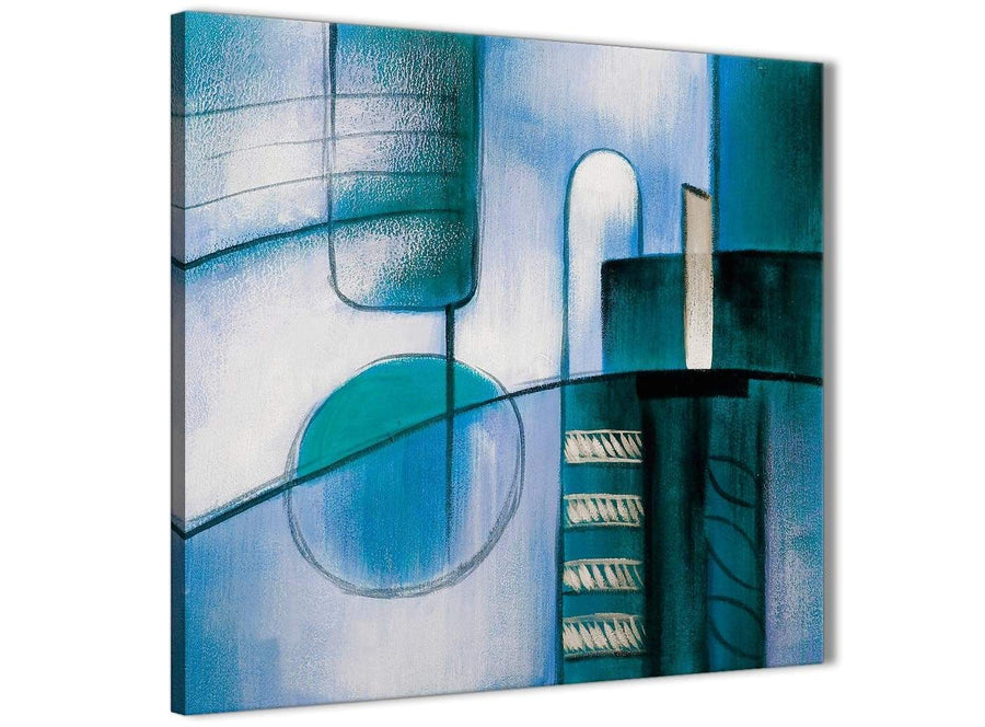 Framed Teal Cream Painting Living Room Canvas Pictures Decor - Abstract 1s417m - 64cm Square Print