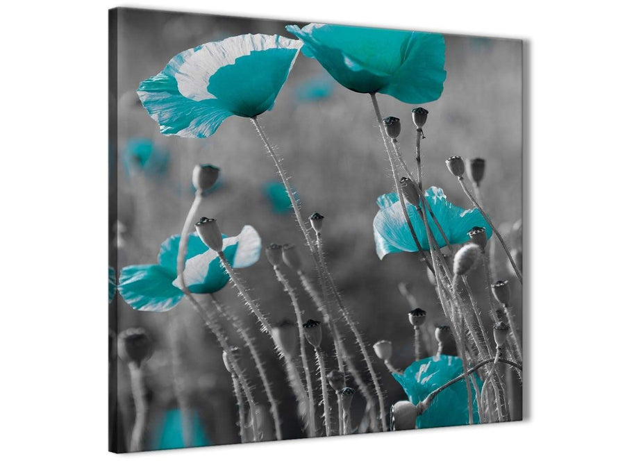 Framed Teal Poppy Grey Poppies Flower Floral Hallway Canvas Pictures Decorations - Abstract 1s139m - 64cm Square Print